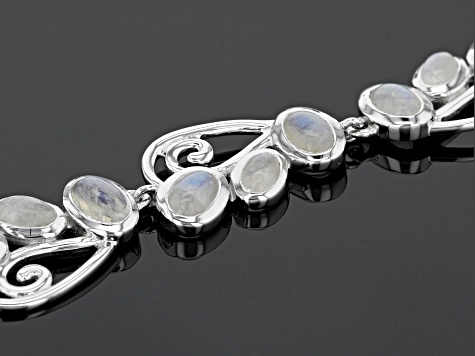 White rainbow moon rhodium over sterling silver adjustable bracelet