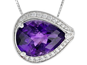 Purple Amethyst Rhodium Over Sterling Silver Slide With Chain 10.14ctw