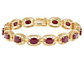 Red ruby 18k yellow gold over sterling silver bracelet