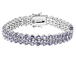 Blue Tanzanite Rhodium Over Silver Bracelet 12.42ctw