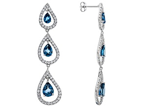 Blue topaz rhodium over silver dangle earrings 6.82ctw