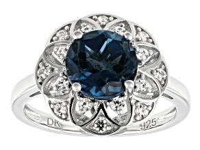 London Blue topaz rhodium over silver ring 2.27ctw