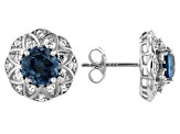 London Blue topaz rhodium over silver earrings 3.33ctw