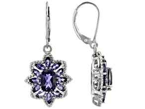 Blue Iolite Rhodium Over Silver Earrings 2.79ctw
