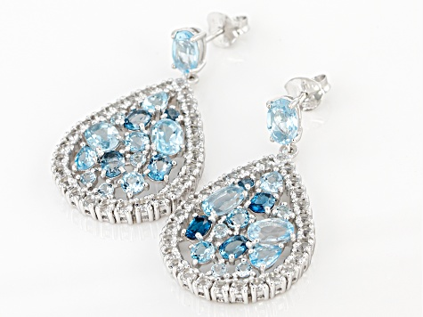 Blue topaz mix sterling silver teardrop earrings 8.46ctw