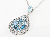 Blue topaz mix rhodium over silver pendant with chain 4.29ctw