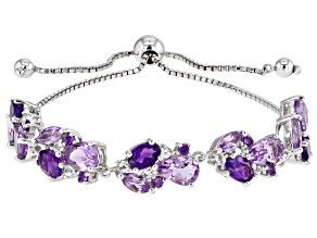 Purple amethyst rhodium over silver bolo bracelet 7.00ctw