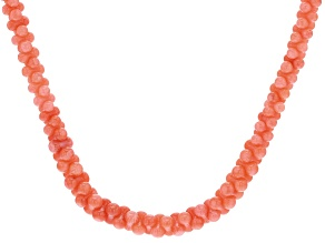 Pink coral peanut bead sterling silver necklace