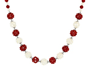 Red and white coral sterling silver necklace