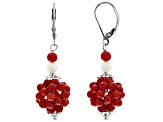Red and white coral bead sterling silver dangle earrings