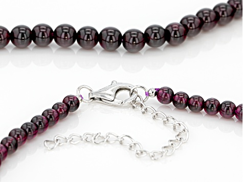 Raspberry color rhodolite bead sterling silver necklace 137.20ctw