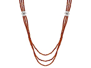 Orange hessonite garnet bead sterling silver necklace 108.36ctw