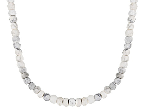 White howlite bead strand sterling silver necklace