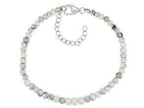 White howlite beaded sterling silver bracelet