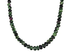 Green ruby zoisite bead strand sterling silver necklace