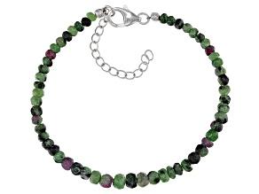 Green ruby zoisite bead strand sterling silver bracelet