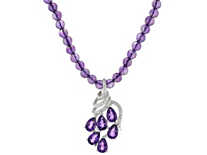 Purple amethyst rhodium over sterling silver necklace 2.63ctw