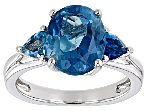 Blue topaz rhodium over sterling silver 3-stone ring 4.08ctw