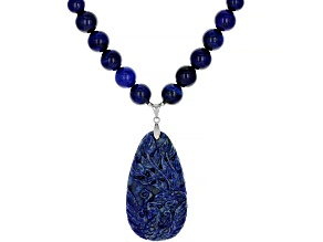 Blue lapis lazuli bead and carved peacock sterling silver necklace