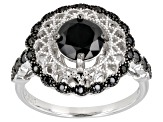 Black spinel rhodium over sterling silver ring 1.91ctw