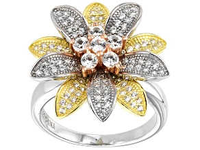 White zircon  rhodium, 18k yellow and rose gold over sterling silver tri-color ring 1.14ctw