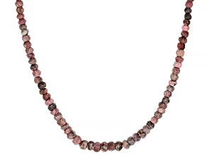 Pink  rhodonite beaded sterling silver necklace