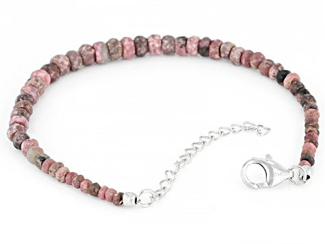 Pink  rhodonite beaded sterling silver bracelet