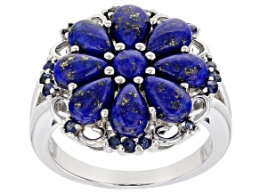 Blue Lapis Lauzli Rhodium Over Silver Ring .25ctw