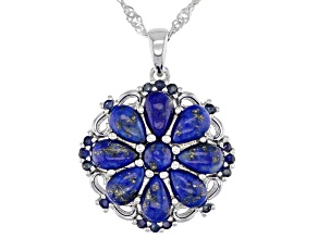 Blue Lapis Lazuli Rhodium Over Silver Pendant With Chain .25ctw