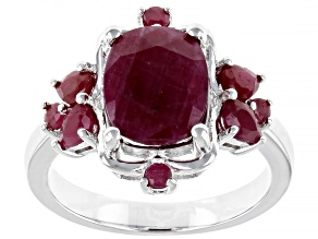 Red Ruby Rhodium Over Silver Ring 4.42ctw