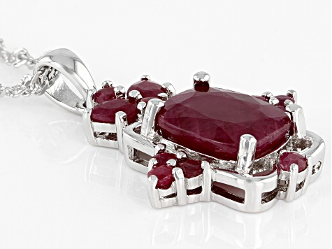 Red Ruby Rhodium Over Silver Pendant With Chain 4.76ctw