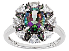 Mystic Fire (R) Green Topaz Rhodium Over Silver Ring 3.14ctw