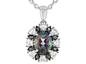 Mystic Fire(R) Topaz Rhodium Over Silver Pendant With Chain 3.54ctw