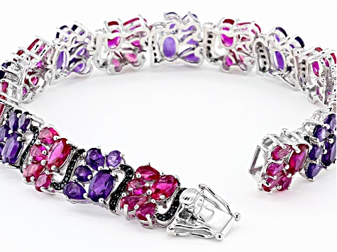 Red Lab Created Ruby Rhodium Over Silver Bracelet 17.78ctw