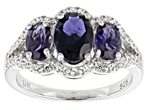 Blue Iolite Rhodium Over Silver Ring 2.09ctw