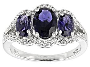Blue Iolite Rhodium Over Silver Ring 2.09ctw