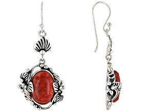 Red Sponge Coral Sterling Silver Earrings