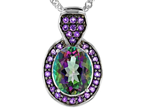 Multi-Color Mystic Topaz® Rhodium Over Sterling Silver Pendant with Chain 4.22ctw