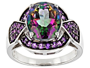 Green Mystic Fire® Topaz Rhodium Over Silver Ring 4.29ctw