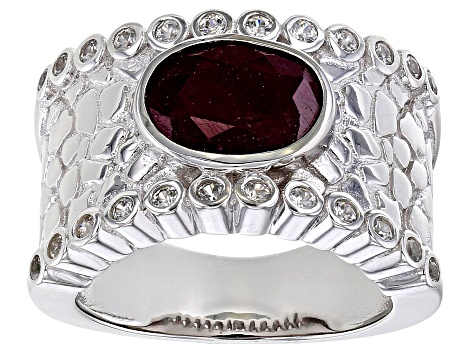 Red Ruby Rhodium Over Silver Ring 3.57ctw