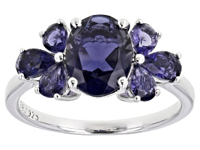 Purple Iolite Rhodium Over Silver Ring 1.77ctw