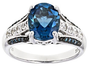 London Blue Topaz Rhodium Over Sterling Silver Ring 3.29ctw