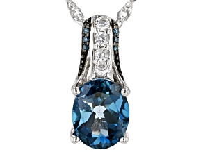 London Blue Topaz Rhodium Over Sterling Silver Pendant with Chain 3.04ctw