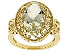 Yellow labradorite 18k yellow gold over silver ring 4.32ct
