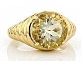 Yellow labradorite 18k yellow gold over silver ring 4.73ct