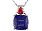 Blue Lapis Lazuli Rhodium Over Silver Pendant With Chain