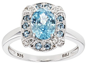 Blue zircon rhodium over sterling silver ring 2.02ctw