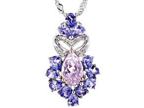 Pink Kunzite Rhodium Over Sterling Silver Pendant with Chain 3.35ctw