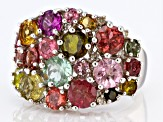 Multi-Tourmaline Rhodium Over Silver Band Ring 4.99ctw