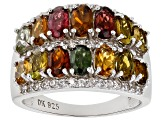Multi-Tourmaline Rhodium Over Sterling Silver Ring 3.01ctw